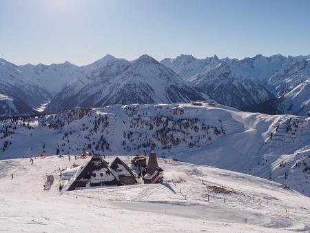 Restaurant on top on skiing resort in Mayrhofen, Austria Stock Photo