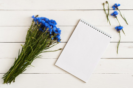 beautiful bouquet of blue wildflowers with a notebook for notes on a white wooden table Foto de archivo