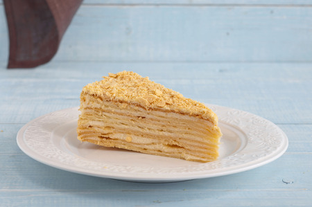 honey cake: piece of honey cake on the light rustic wooden table