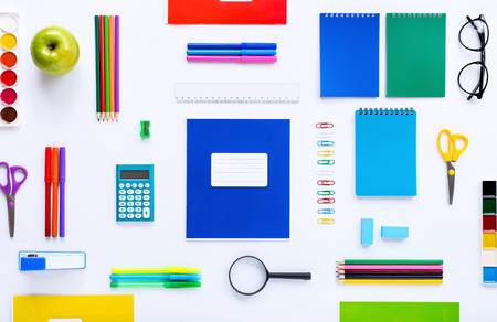School supplies on a white background. Flat lay, top view 版權商用圖片
