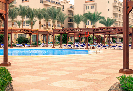 Beautiful area the hotel with a swimming pool. Africa, Egypt Stock Photo