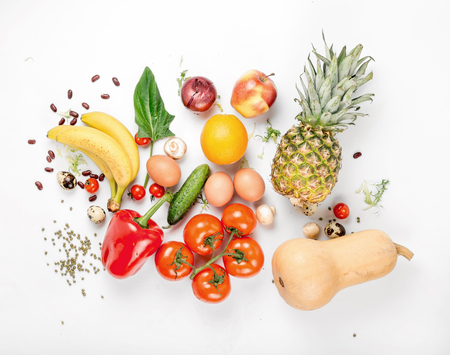 Variety health food on a white background. Top view. Flat lay