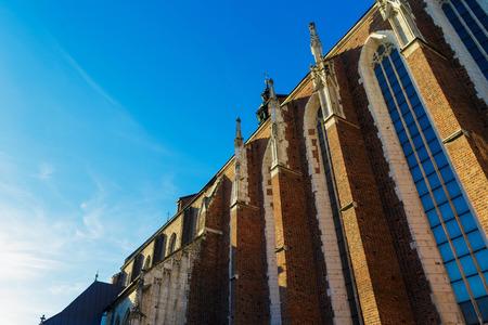 Krakow, Poland. Roman catholic 14th century church Corpus Christi Basilica in Jewish district Kazimierz