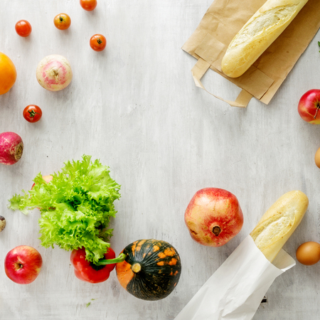 Frame of set of raw food on white wooden background, top view. Healthy food concept Reklamní fotografie