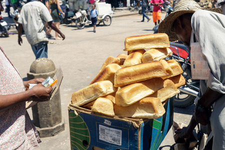 Heap of bread on the local market in a stone town, Tanzania, Zanzibar