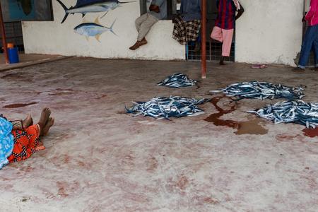 해산물 판매를위한 현지 시장. 탄자니아, 잔지바르