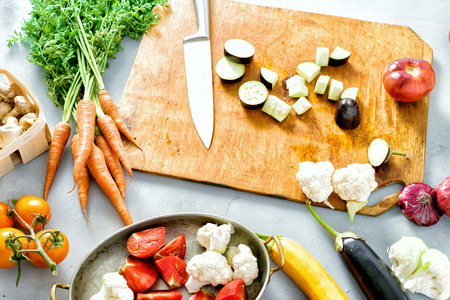 Set ingredients for cooking stewed vegetables top view