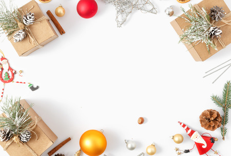 Frame of Christmas decoration on white background top view. New year flat lay