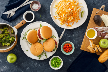 Summer party food concept top view various food on table flat lay