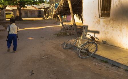 Dawn in a local African village. Zanzibar, Tanzania, Africa