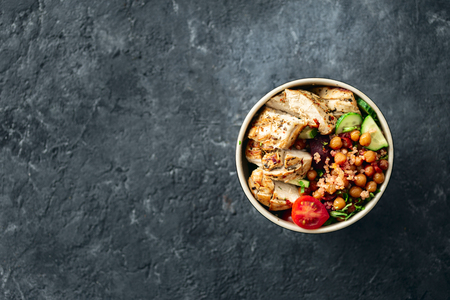 Top view healthy food bowl buddha on dark  with copy space. Reklamní fotografie