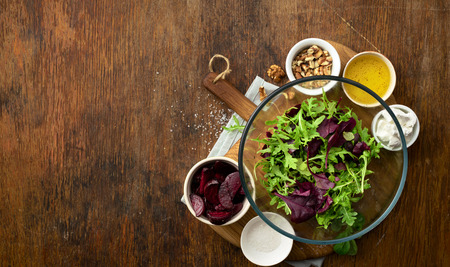 Raw food for cooking fresh salad on wooden table top view Reklamní fotografie