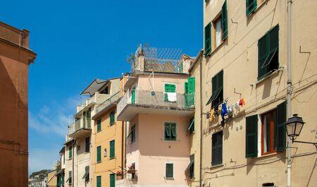 Beautiful building facade in Riomaggiore, Cinque Terre, Italy. Summer cityscape Stock Photo