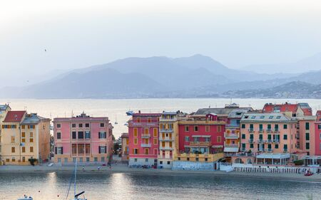 Sestri Levante, Genoa, Italy. Landscape of a beautiful bay in Sestri Levante Archivio Fotografico