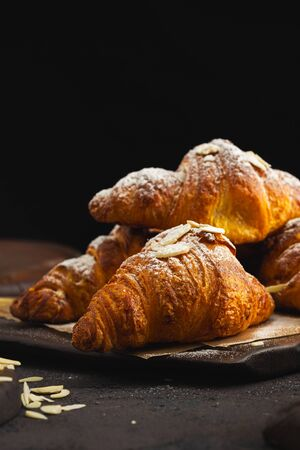 Freshly baked croissant with chocolate close up