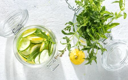 Diet concept. Detox drink cucumber water top view