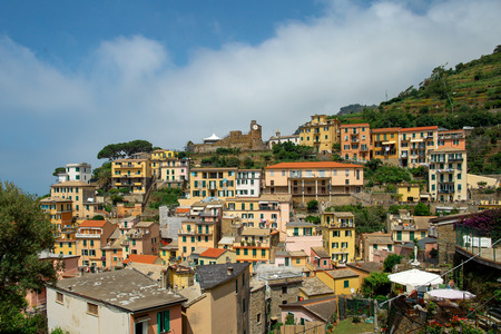 Scenic view of colorful village Riomaggiore in Cinque Terre, Italy