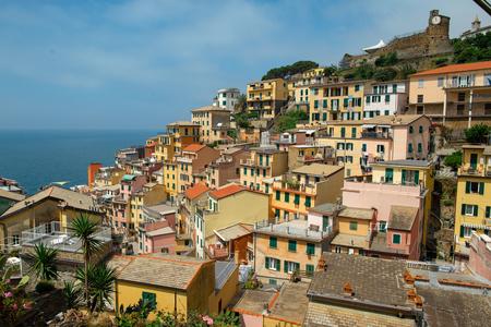 Scenic view of colorful village Riomaggiore in Cinque Terre, Italy