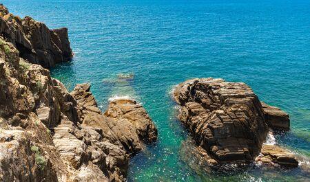 Beautiful seascape in Cinque Terre Italy Stok Fotoğraf