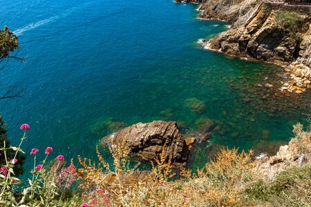 Top view from cliff at sea in Cinque Terre Italy