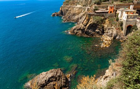 Top view of beautiful seascape in Cinque Terre Italy