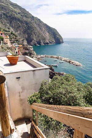 View of the beautiful Riomaggiorein Cinque Terre Italy