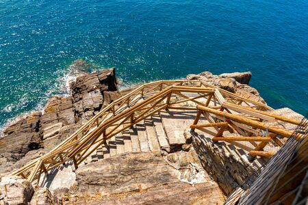 Pathway along the sea in Cinque Terre national park, Italy Stok Fotoğraf