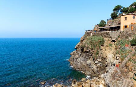 Beautiful italian landscape Riomaggiorein in Cinque Terre Italy