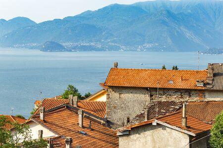 Beautiful sunrise overlooking the Italian village on Lake Como
