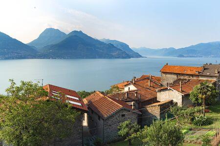View of the village on Lake Como Italy Stok Fotoğraf