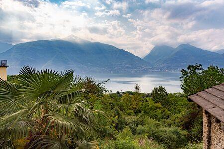 Beautiful sunrise on lake Como Italy