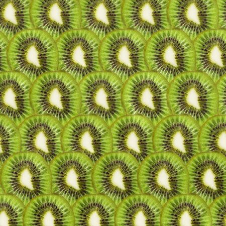 Pattern with kiwi slice Top View Flat lay. Abstract summer fruit background