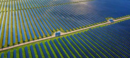 Photovoltaic power plant. Solar panels in aerial view Zdjęcie Seryjne