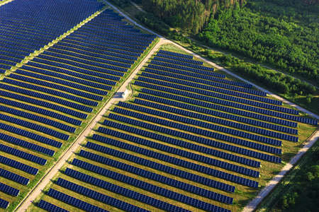 Solar panels in aerial view. Photovoltaic power plant