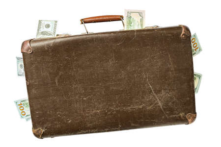 Old retro suitcase full of money isolated on white background Stockfoto
