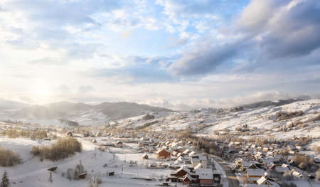 Beautiful village in a mountain winter landscape Stockfoto