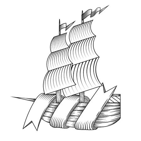 middle ages boat: isolated vintage vector ship illustration with ribbon, logo Illustration