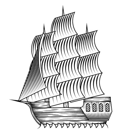 middle ages boat: isolate vintage vector ship illustration