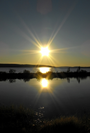 refelction: Sunset at a lake in Finish Lapland