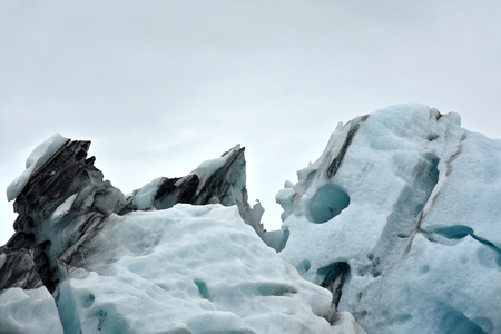 ice floe: Close-up of a glacier ice floe in the shape of a skull at Jokulsarlon ice lake in Iceland.