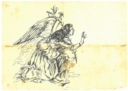 Archangel GABRIEL - hand-drawn  Vector
