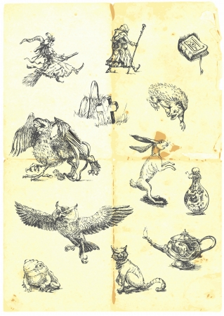 Hand drawn collection of magical fairy-tale characters  Vector