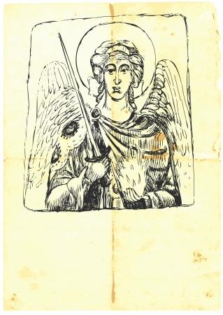 michael the archangel: Archangel MICHAEL - hand-drawn