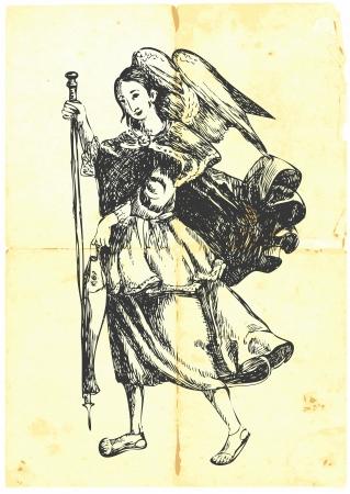 Archangel RAFAEL - hand-drawn  Vector