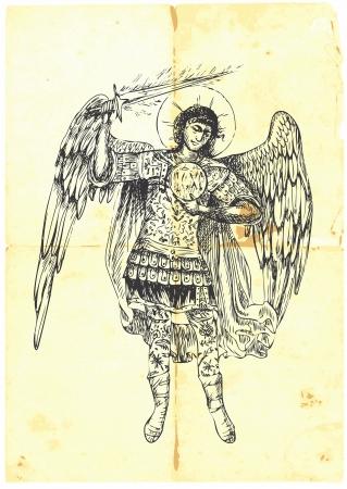 academic touch: Archangel URIEL - hand-drawn  Illustration