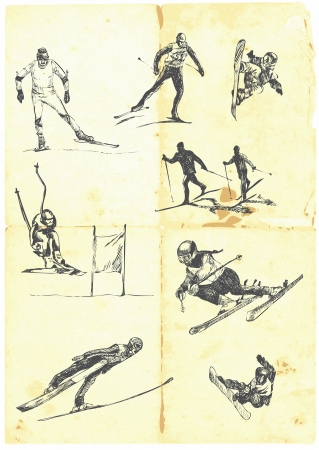 스키: 손 겨울 스포츠의 큰 컬렉션을 그려 일러스트