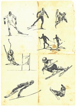 sport invernali: Disegnata a mano una grande collezione di sport invernali Vettoriali