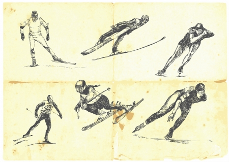 cross country: Hand drawn a large collection of winter sports