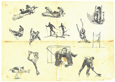 cartoon hockey: Hand drawn a large collection of winter sports