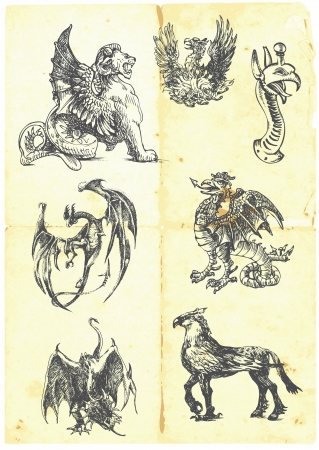 A large series of mystical dragons on an old sheet of paper Vector